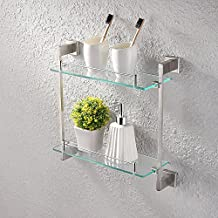KES A2420B-2 Bathroom Lavatory Double Glass Shelf Wall Mount, Brushed SUS304 Stainless Steel