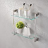 KES Bathroom Glass Shelf 2 Tier Shower Caddy Bath Basket Stainless Steel RUSTPROOF Wall Mount Brushed Finish, A2420B-2