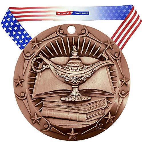 Decade Awards Academic World Class Medal, Bronze - 3 Inch Wide Lamp of Knowledge Third Place Medallion with Stars and Stripes American Flag V Neck - Medallion Ribbon