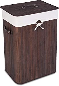 Giantex Laundry Hamper Bamboo Rectangle Basket Washing Cloth W/Bin Rangier Lid Laundry Basket Laundry Basket (Brown)