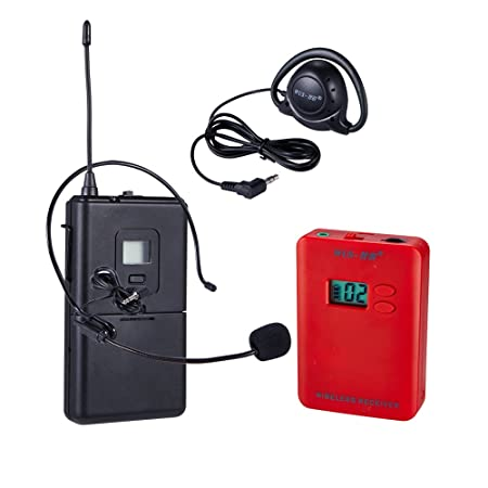 ZLWUS 069RC UHF Wireless Tour Guide System, 2pc Sender + 30pc Receivers + Ladegeräts + Suitcase For Unterricht Training Besuc