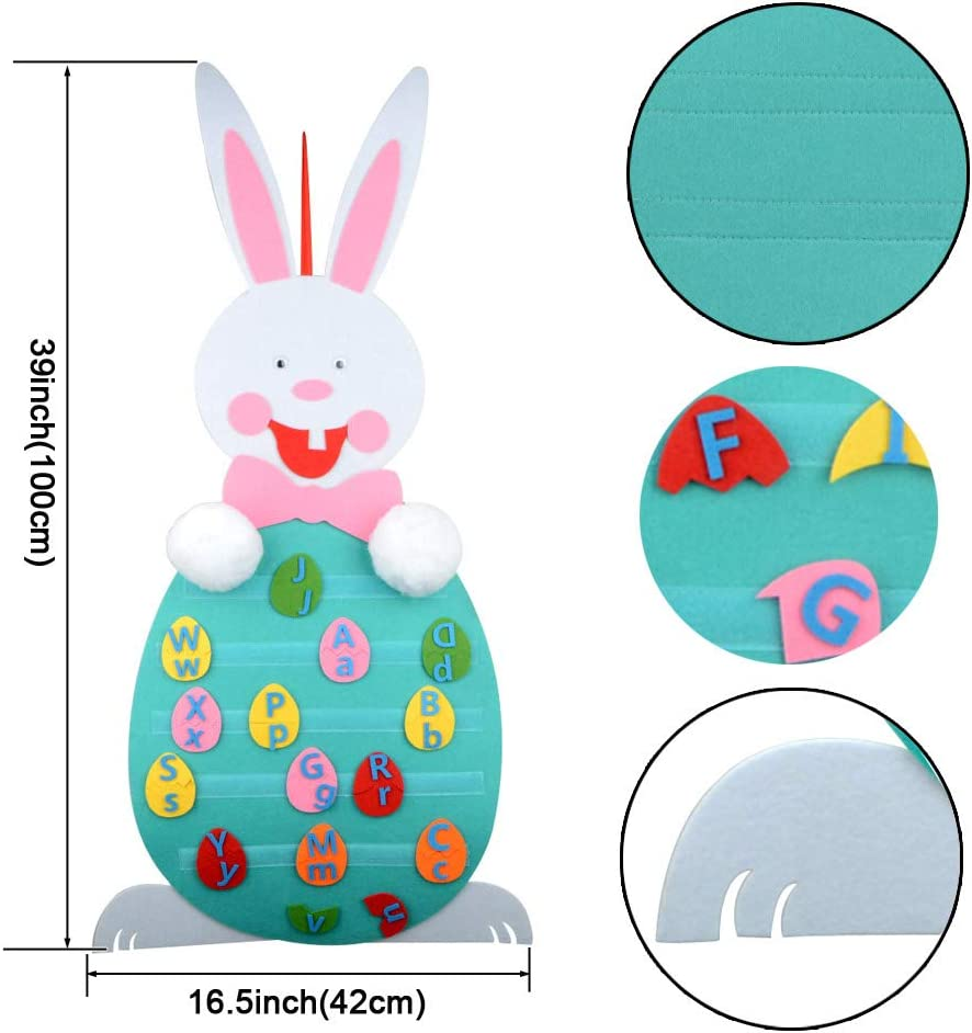 LIDEBLUE DIY Easter Bunny 37.4in Removable Wall Hanging DIY Felt Rabbit Toy with Detachable Ornaments for Kids Festival Gifts Home Party Decor