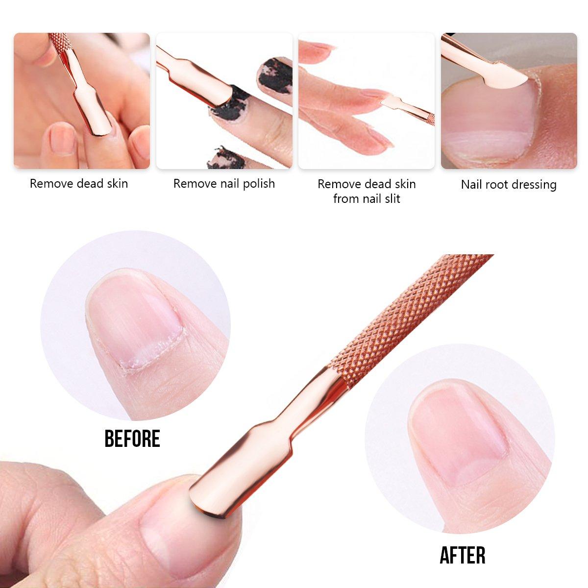 Herramienta de eliminación de esmalte de uñas Triangle, empujador de cutícula con limpiador de uñas Spoon, recortadora de raspado, ...