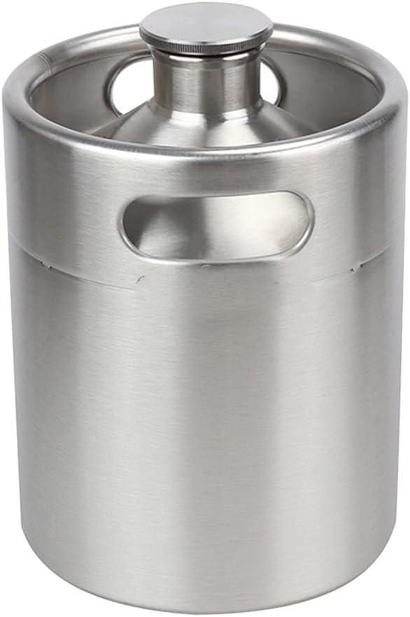 HomeDecTime Mini Barril de Acero Inoxidable Cantimplora Cantina Cerveza Artesanal Elaboración Casera 2L 4L 5L - 2L