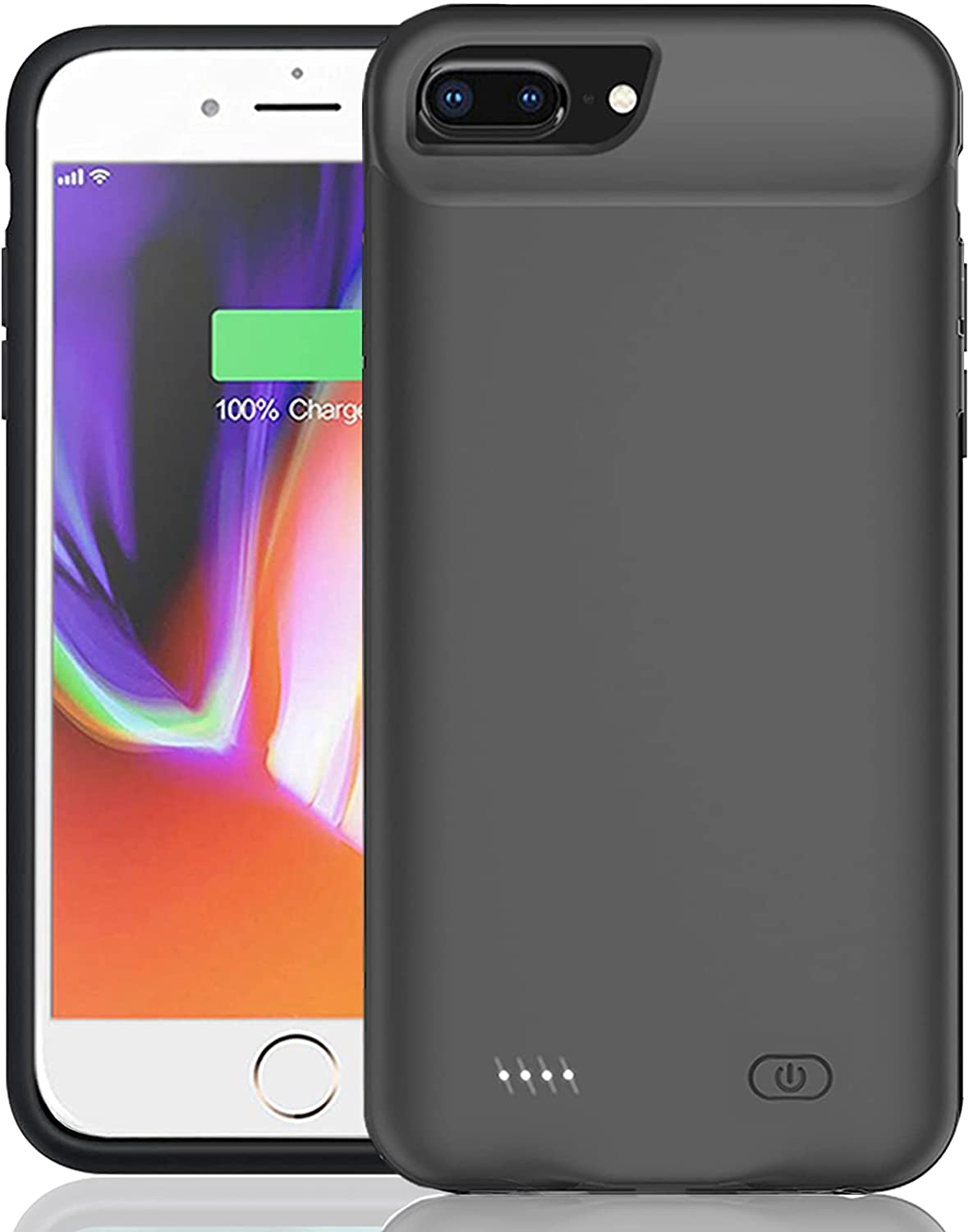 Battery Case for iPhone 6 Plus/6s Plus/7 Plus/8 Plus (5.5 inch), Enhanced 10000mAh Smart Rechargeable Portable Protective Charging Case Extended Battery Backup Pack Compatible Charger Case (Black)