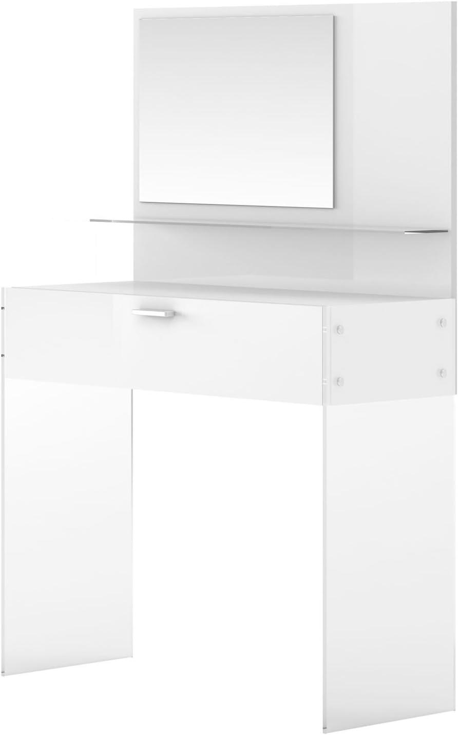 Alinea Crystal Coiffeuse 1 Tiroir Avec Miroir Blanc X92 0x135 4x36 Amazon Fr Cuisine Maison