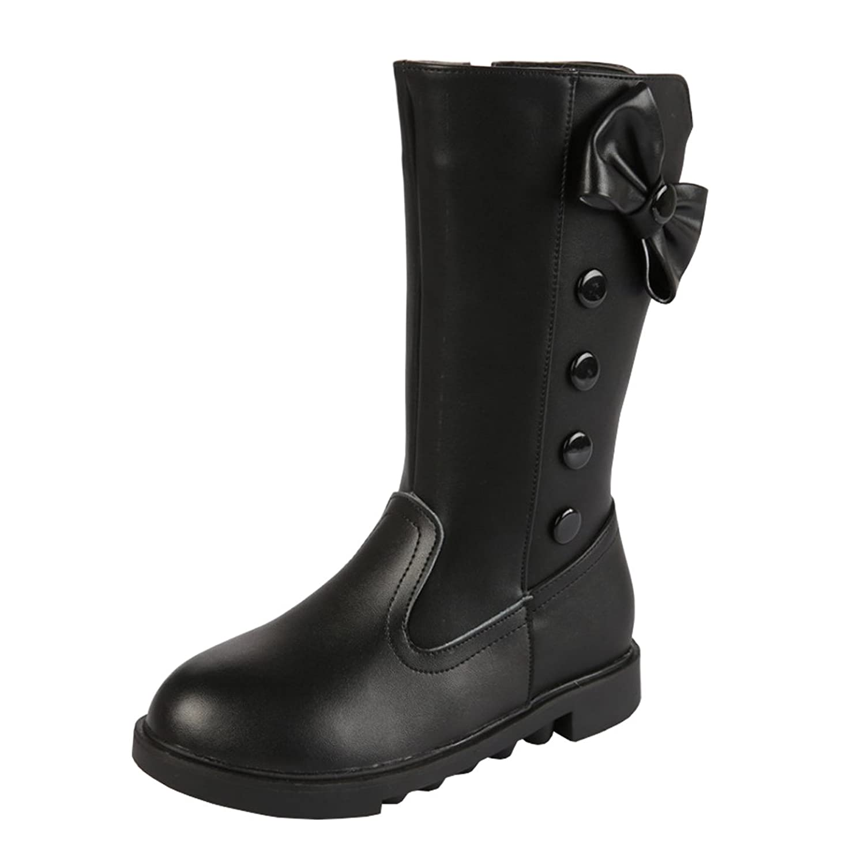 396b2714e4233 AHATECH Filles Bottes Hiver Boots en Cuir PU Chaussures enfant Fille -  Noir