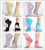 Good news 6 Pairs Toeless Yoga Pilates Socks Womens Non-Slip Non-Skid Bottom Barre Sock with Grippers