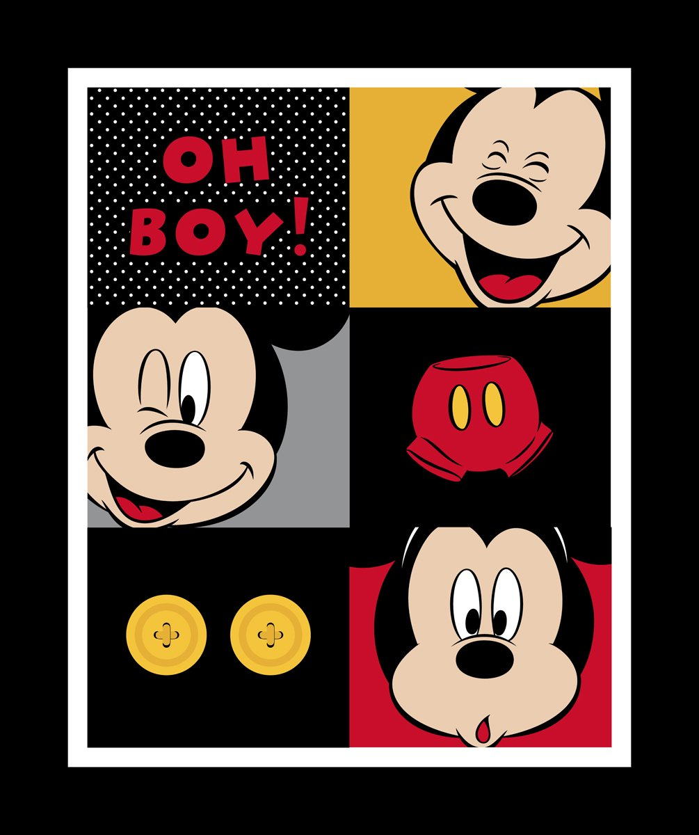 Springs Creative Disney Mickey Mouse Every Day 100% Cotton D/R Print Fabrics, Mickey Oh Boy! Panel, 43/44'' Wide by Springs Creative Products
