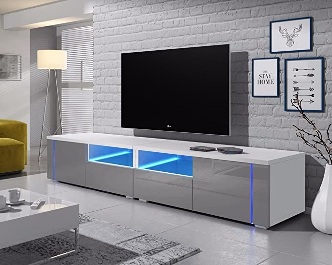 Mueble bajo para TV Oxy Double (200 cm) 200 cm Matt White/Gloss Grey Front Panels with LED Lighting: Amazon.es: Electrónica
