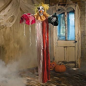 Hanging Evil CLOWN Flashing LED Eyes Poseable Halloween Yard Outside Lawn Decor