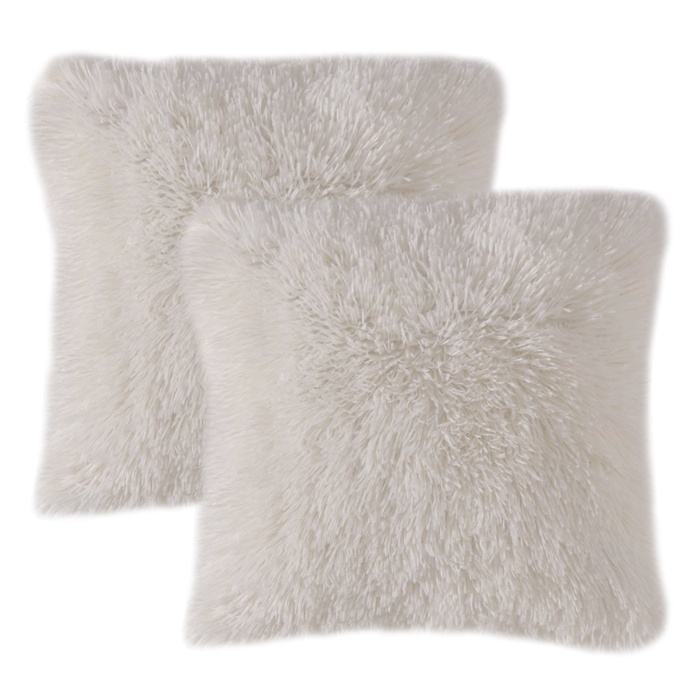 MIULEE Pack of 2 Luxury Faux Fur Throw Pillow Cover Deluxe Decorative Plush Pillow Case Cushion Cover Shell for Sofa Bedroom Car 18 x 18 Inch Beige