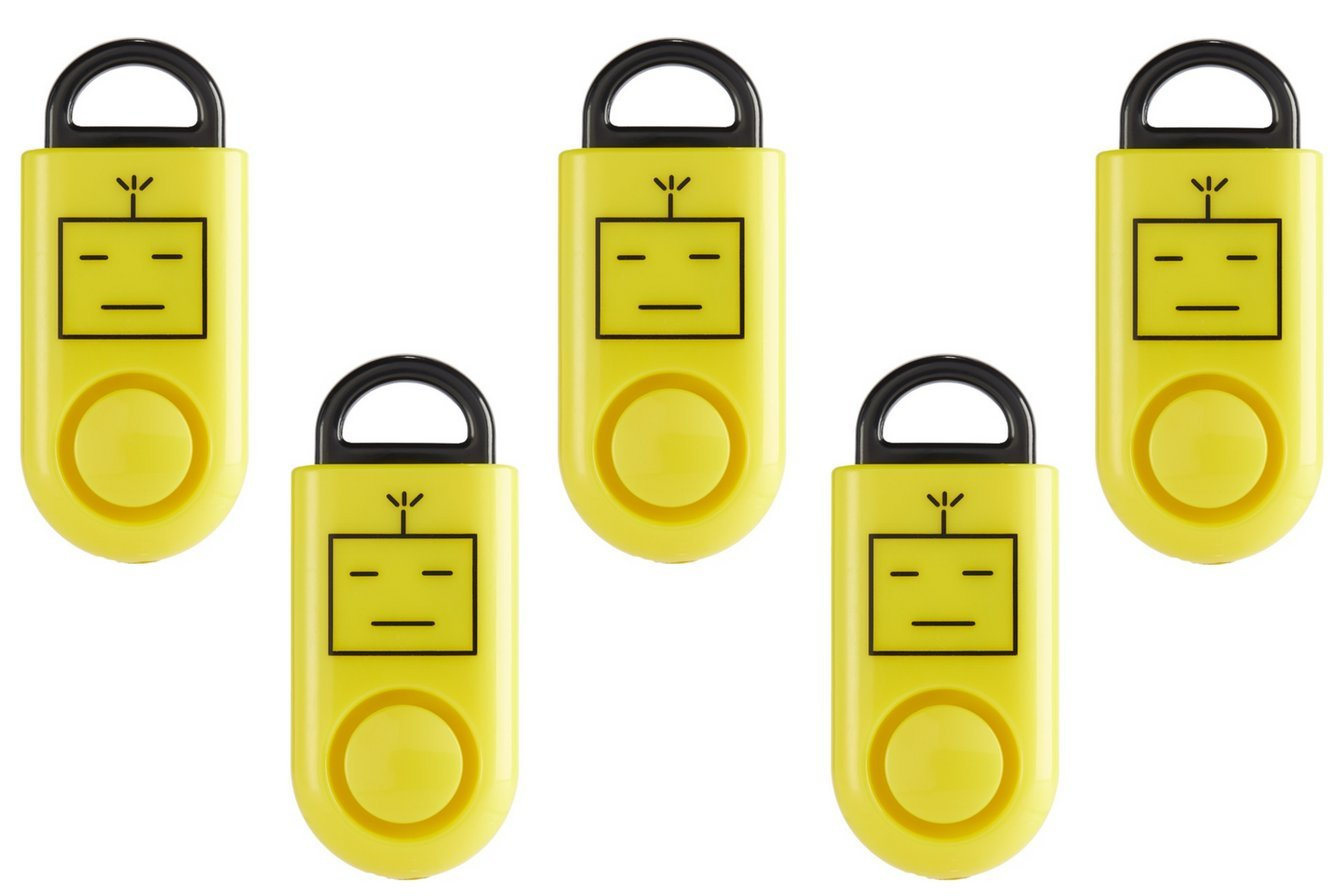B A S U eAlarm, The World's Smallest Emergency Alarm, Proven Results as seen on TV, Battery Included, Carabiner Included, Yellow, Family Pack (5) The World' s Smallest Emergency Alarm