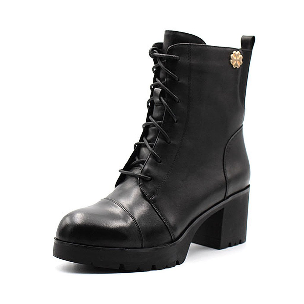 Woman's Martin boots leather waterproof handsome high-heeled short boots ( Color : Black , Size : US:6.5UK:5.5EUR:38 )
