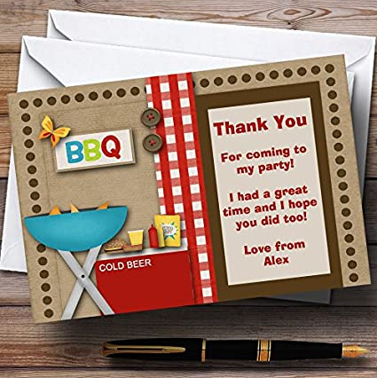Birthday Bbq Personalized Birthday Party Thank You Cards