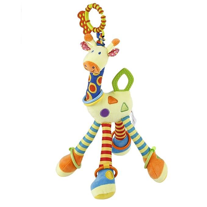 YKS Hochet dEveil Bébé - Doudou Girafe - Premier âge - Anneau Dentition - Garçon - Fille (Orange)