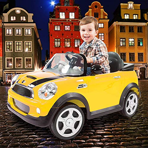 (Rollplay 6V Mini Cooper Ride On Toy, Battery-Powered Kid's Ride On Car - Yellow)