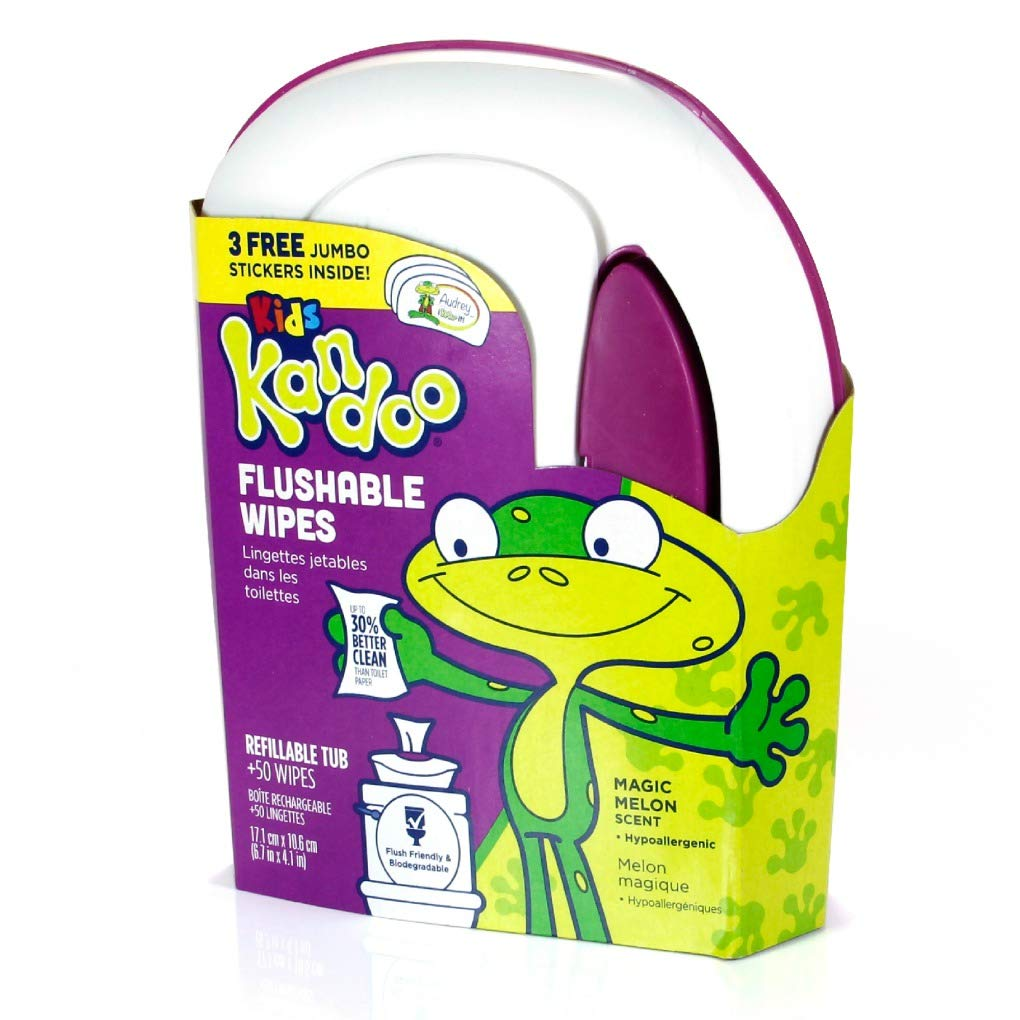 Kandoo Flushable Cleansing Wipes, Tub, Magic Melon Scent, 50 Count NF-002