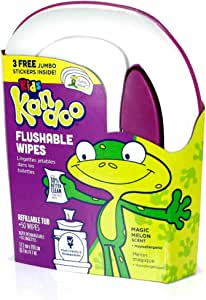 Kandoo Flushable Cleansing Wipes, Tub, Magic Melon Scent, 50 Count