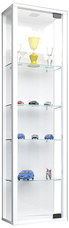 VCM 911786 Stano Vitrine sans Éclairage LED Bois-Verre Blanc 115 x 33 x 18 cm