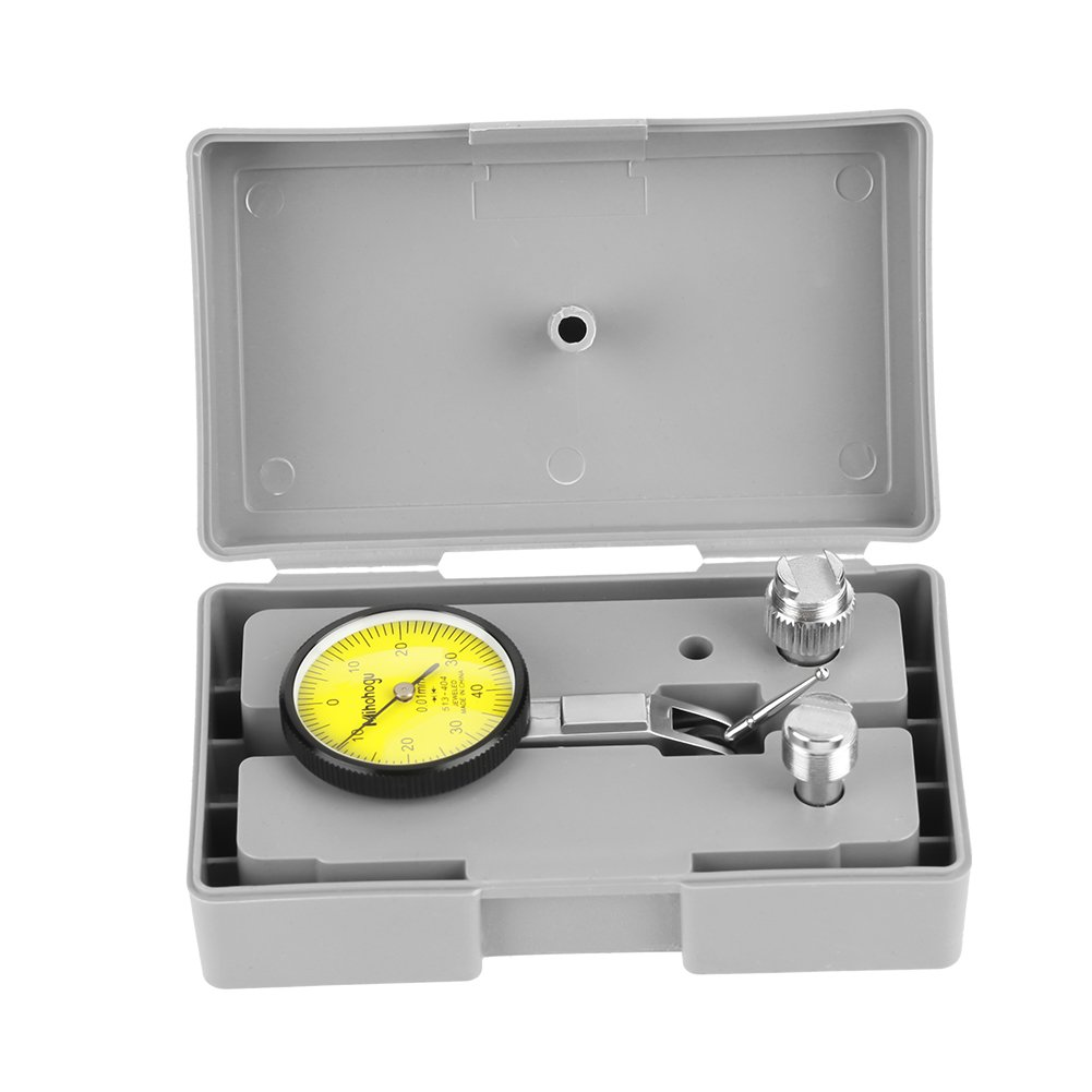 Dial Test Indicator, Precision Lever Dial Test Indicator Meter Tool Kit Gage in Fitted Box with 3/8'' Dovetail Clamp and 5/32'' Dovetail Clamp, 0.01mm Graduation
