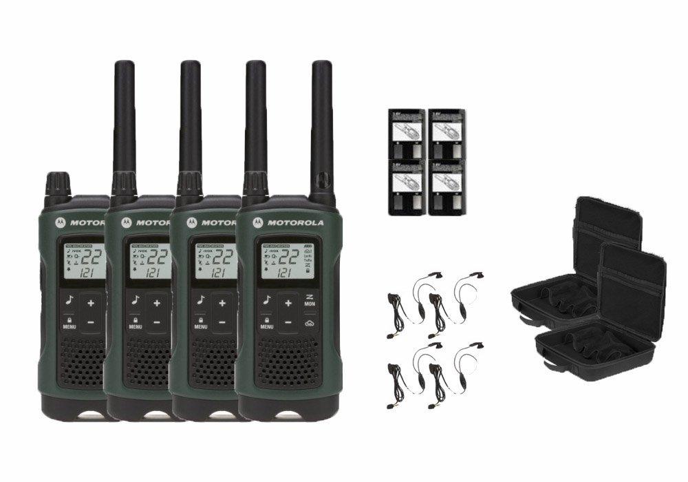 Motorola Talkabout T465 Two-Way Radios / Walkie Talkies - Weatherproof 22 Channels PTT IVOX Flashlight 4-PACK