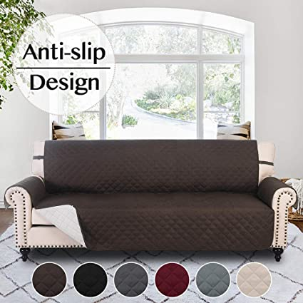 RHF Anti-Slip Sofa Cover for 3 Cushion Leather Sofa, Slip-Resistant  Furniture Protector(Couch Cover for Dogs)-Features Anti-Slip Pad and  Adjustable ...