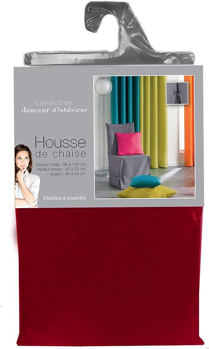 Douceur dInt/érieur Housse de Chaise Nouettes Polyester Uni Essentiel Noir