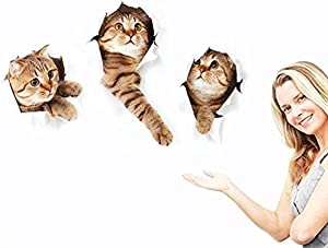 3D Wall Decals Stickers Vivid Decors Murals (Cat) for Room Home Removable Wall Art Decals Wall for kids Rooms DIY Home Decoration (Cat)