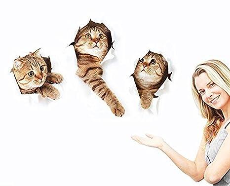 3d pared adhesivos pegatinas murales Oasis Vivid (gato) para habitación casa extraíble de pared