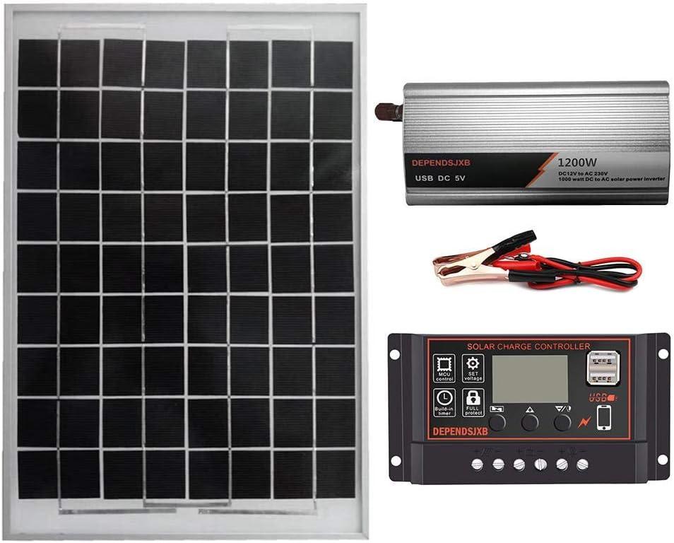 Panel Solar Portatil, Controlador de Panel Solar de 1200 W, Kit de Inversor del Sistema de Energía Solar, Controlador de LCD de Protección de Conexión Inversa 18V 20W 12V a AC230