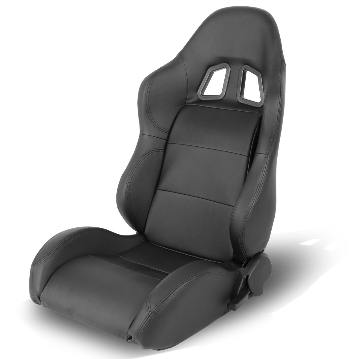 Driver and Passenger Side Universal Black PVC Leather Off-Road Style Fully Reclinable Racing Seats