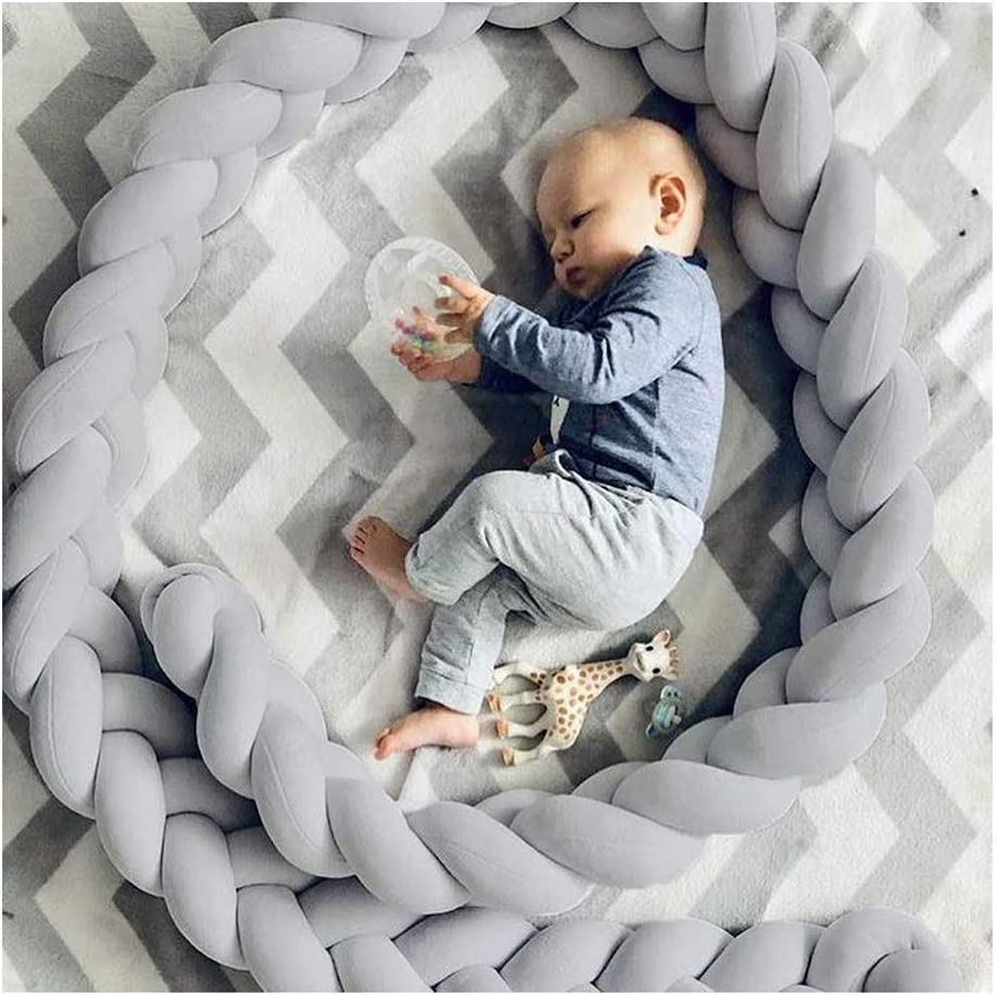 LFEWOX Baby Crib Bumpers 4m //157in Cot Bumper Braid Pillow Cushion Nursery Decorations Braided Bumper for Crib Nursery Room Decor for Infant Toddlers Grey