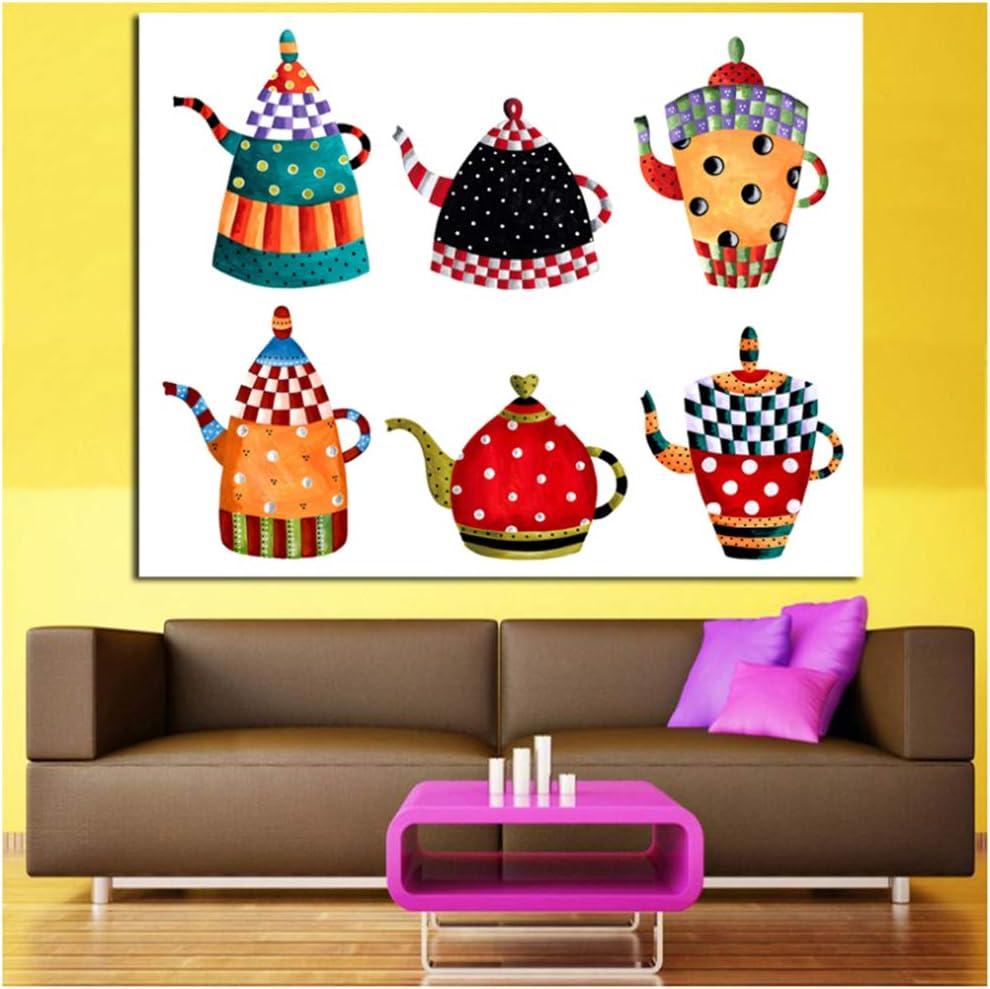 Arte de la lona Cocina Pintura decorativa Todo tipo Caldera Pintura de dibujos animados Pintura de la lona Impresiones modernas de la pared Carteles-60x120cm Sin marco