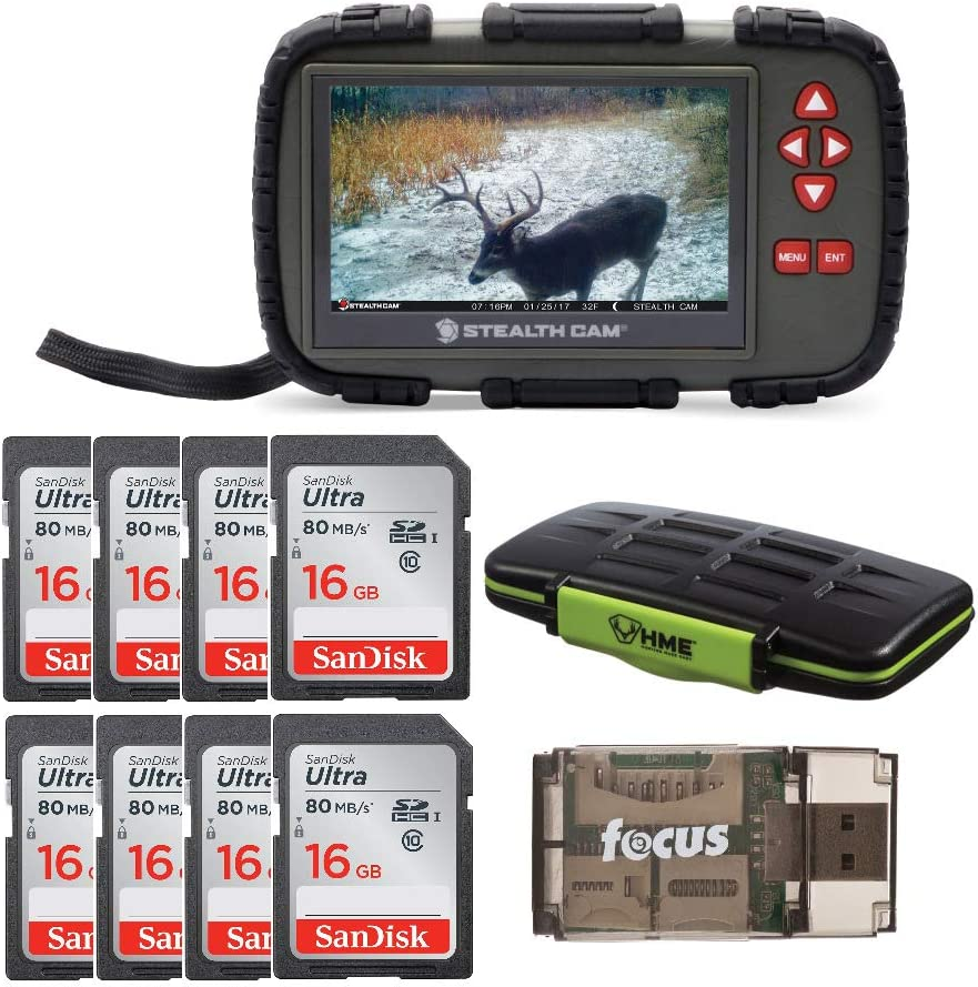 Stealth Cam SD Card Reader and Viewer with Touch Screen 4.3-inch LCD + Eight 16GB SD Cards + Card Holder + Card Reader Bundle (11 Items)