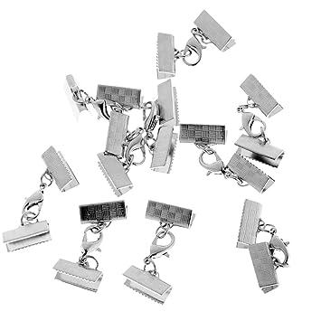 10pcs Ribbon Clip Clamp Cord Crimp End Cap Tip Necklace Bracelet Connector