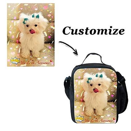8fc6e6bd80c5 Showudesigns Custom Lunch Bag for Kids Customize Girls Boys Lunch Box with  Bottle Holder