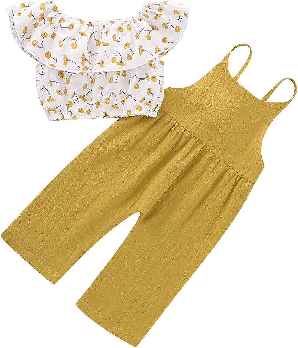 I Set della Tuta dei Pantaloni della Bretella Lot del Bambino del Bambino delle Neonate Copre La Parte Superiore della Camicia Floreale Chennie 2Pcs