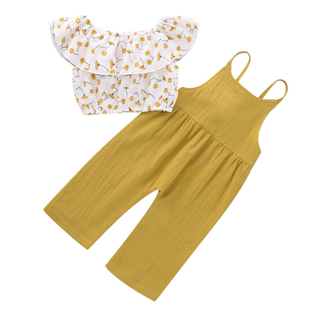 Bretelle Tuta DaMohony Vestito da Neonato per Bambina con Motivo Floreale Maglietta Senza Maniche Pantaloni