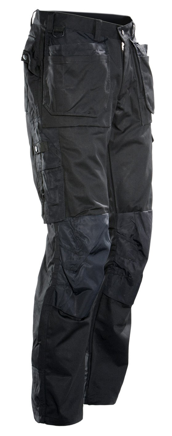 JOBMAN Workwear Men's Service Pants With Holster Pockets, Black, 34x30