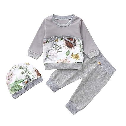 feiXIANG Conjunto de bebé Recién Nacido Bebé niño niña Niño Camiseta de Manga Larga con Estampado