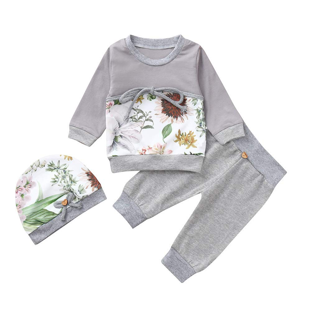 Tronet Christmas Baby Toddler Boys Girls 3Pcs Winter Floral Print Tops T-Shirt Pants Hat Set Clothes (Gray, 100(Age:18-24Months))