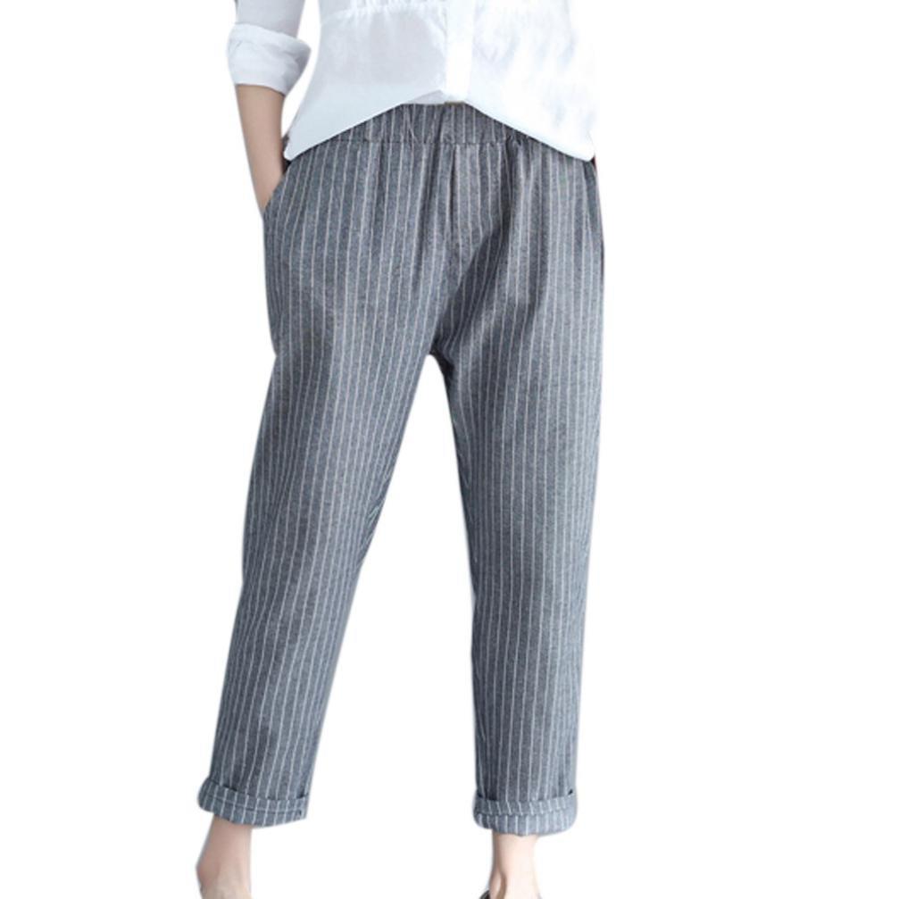 Spbamboo Woman Linen Striped Harem Pants Loose Striped Full Pants Casual Pants
