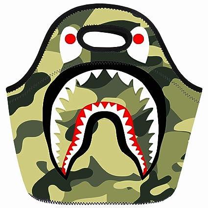 b3730c184366 Amazon.com: Ahawoso Reusable Insulated Lunch Tote Bag Bape Shark ...