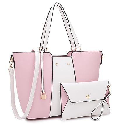46ece266b01e Amazon.com: MK Belted collection Fashion Hobo Handbag for Women~2 PCS  Women's PINK Tote Bag Satchel Handbag Shoulder Bags W coin purse  (Pink/White): Marco ...