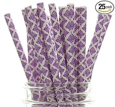 Damask Paper Straws 25-Piece 7-34-Inch