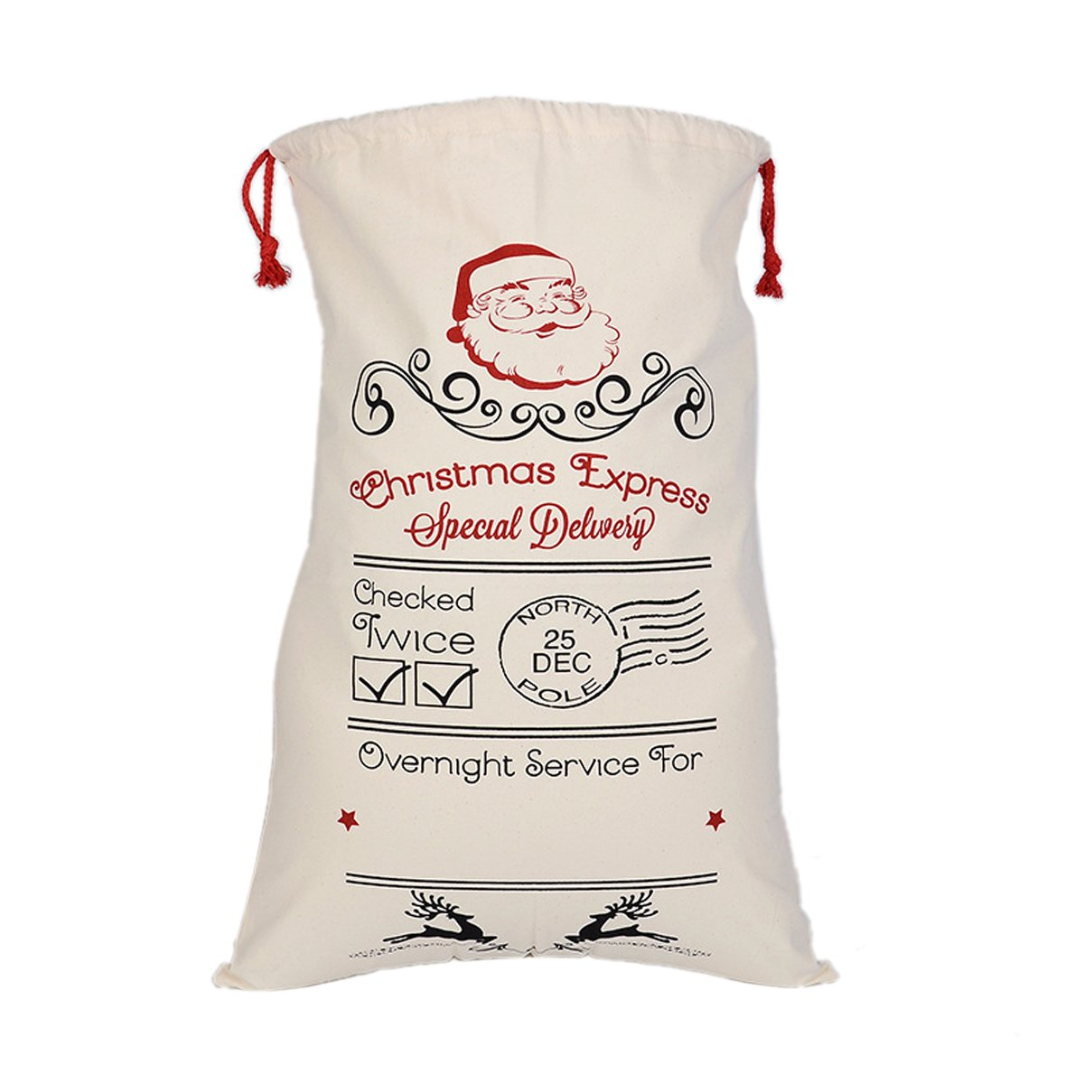 Love Wind Canvas Bag Cotton Santa Sack with Drawstring Customized Name for Holiday Presents