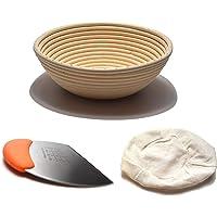(23.5 cm) Bread Banneton Proofing Basket, 9 Inches Round Bread Making Baskets Set, Stainless Steel Baking Scrapper