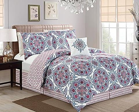 Chezmoi Collection 5pc REVERSIBLE Multi-Color Mandala Medallion and Quatrefoil Bedding Comforter Set (King, Red)