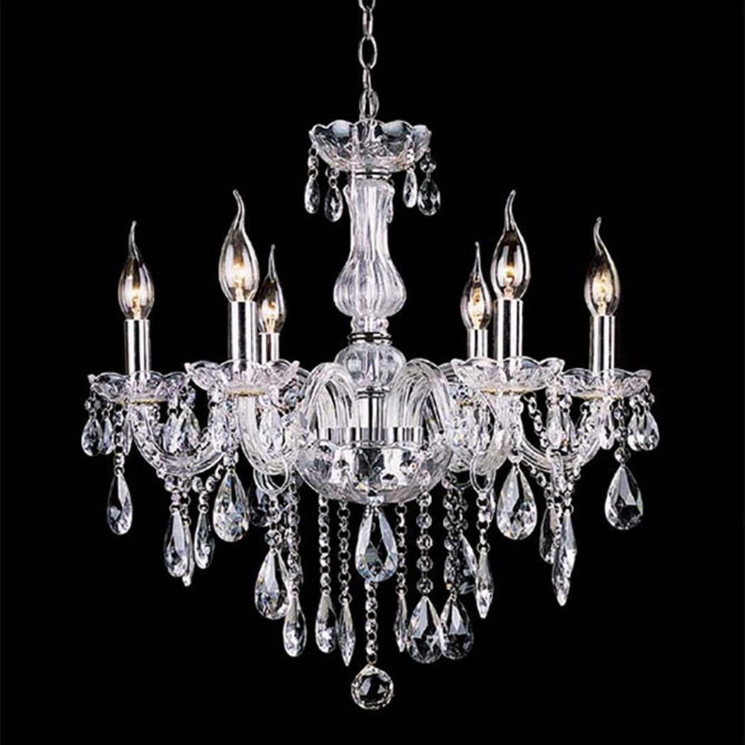 Acazon 6 Lights Vintage Crystal Candle Chandeliers Lighting Pendant Crystal Ceiling Light for Hallway, Bar, Living Room, Bedroom, Kitchen, Dining Room (Bulb Included)-US STOCK